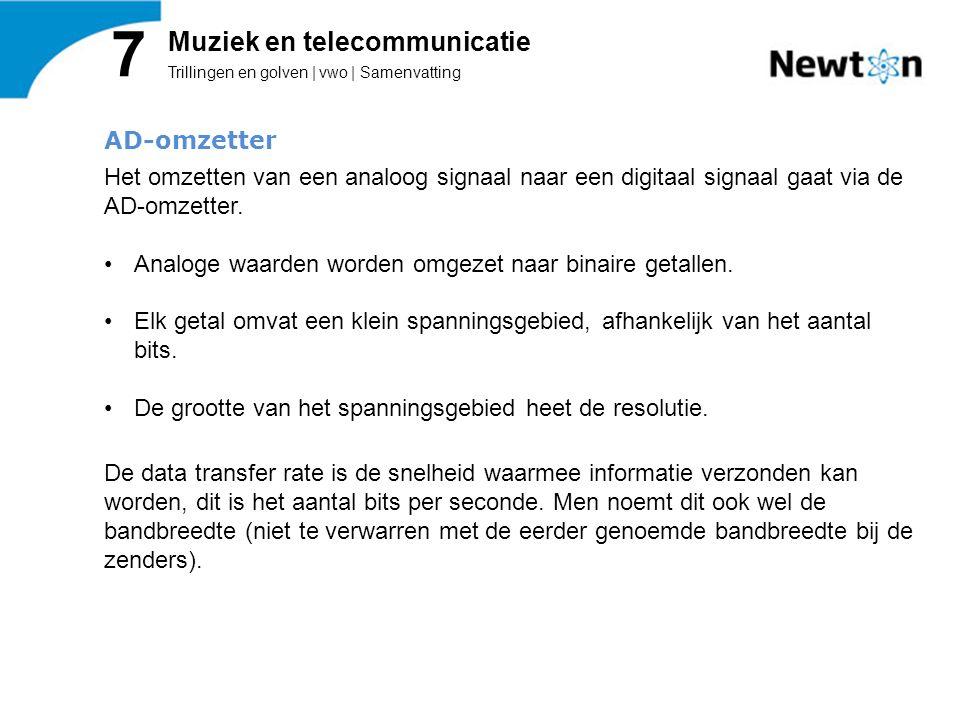 Trillingen en golven | vwo | Samenvatting 7 Muziek en telecommunicatie AD-omzetter Het omzetten van een analoog signaal naar een digitaal signaal gaat