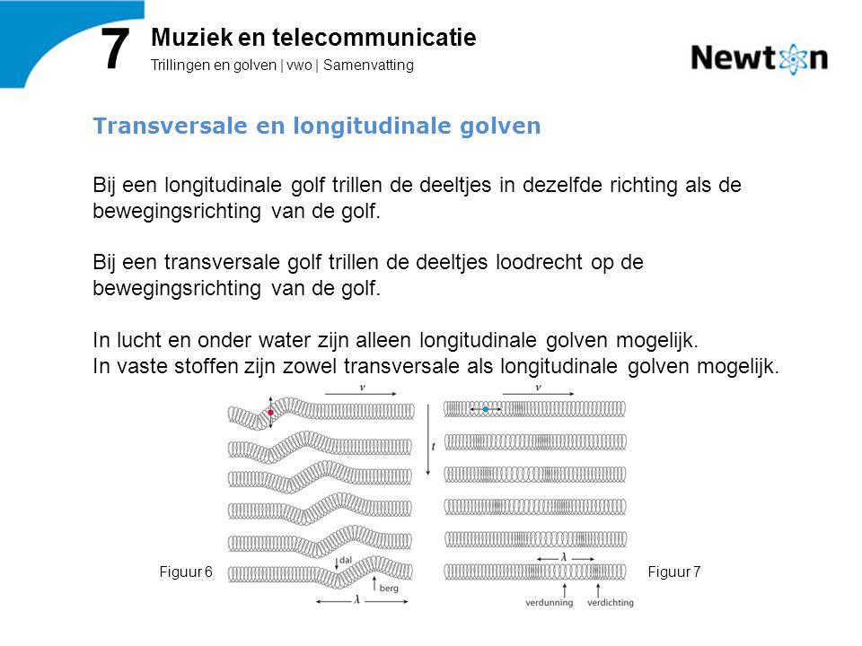 Trillingen en golven | vwo | Samenvatting 7 Muziek en telecommunicatie Transversale en longitudinale golven Bij een longitudinale golf trillen de deel