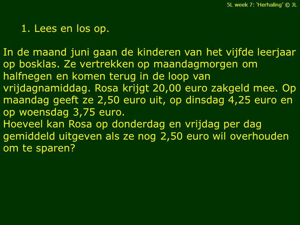 Hoeveel kan Rosa op donderdag en vrijdag per dag gemiddeld uitgeven als ze nog 2,50 euro wil overhouden om te sparen.
