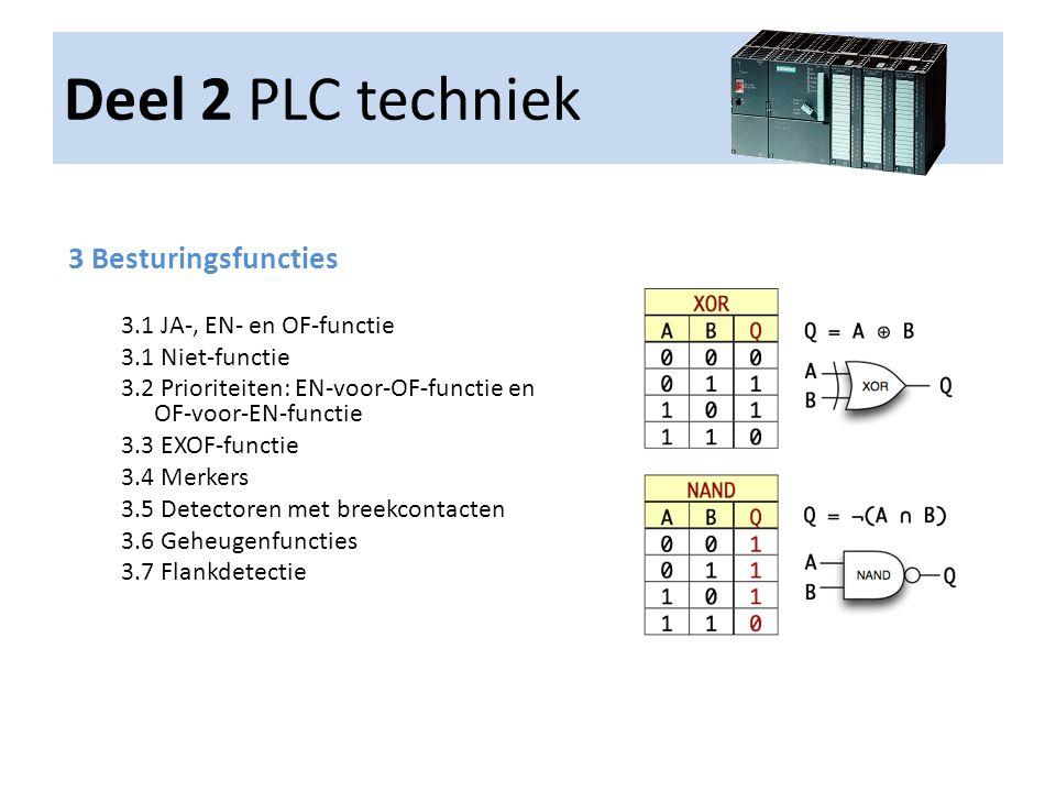 Deel 2 PLC techniek 3 Besturingsfuncties 3.1 JA-, EN- en OF-functie 3.1 Niet-functie 3.2 Prioriteiten: EN-voor-OF-functie en OF-voor-EN-functie 3.3 EX