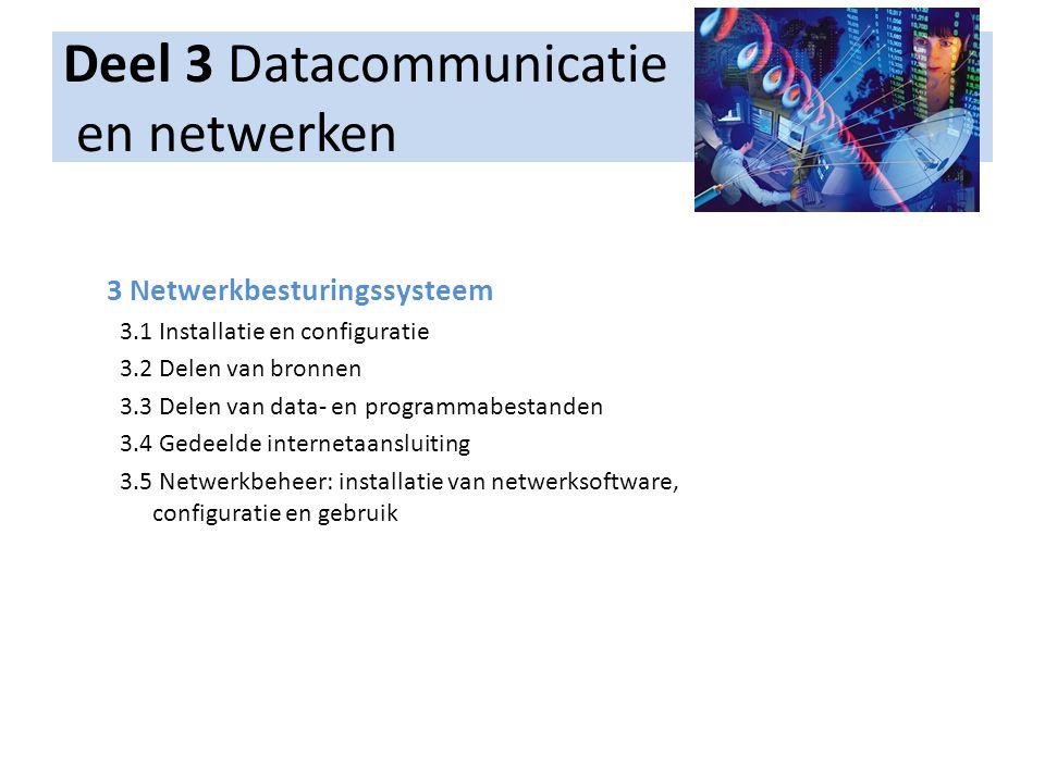 Deel 3 Datacommunicatie en netwerken 3 Netwerkbesturingssysteem 3.1 Installatie en configuratie 3.2 Delen van bronnen 3.3 Delen van data- en programma