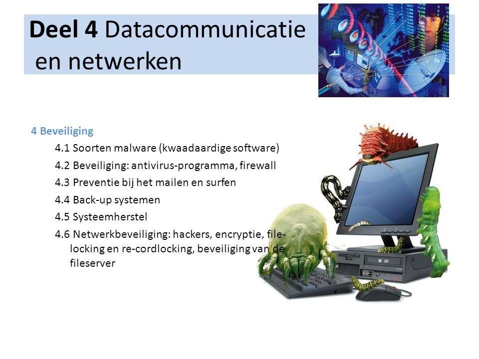 Deel 4 Datacommunicatie en netwerken 4 Beveiliging 4.1 Soorten malware (kwaadaardige software) 4.2 Beveiliging: antivirus-programma, firewall 4.3 Prev
