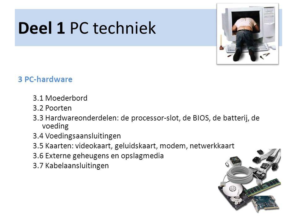 Deel 1 PC techniek 4 PC-software 4.1 Besturingssystemen: Windows, LINUX 4.2 Besturingsbevelen 4.3 Installatie van besturingssysteem 4.4 Installatie van applicatiesoftware 4.5 Patches en plug-ins 4.6 BIOS-onderdelen: betekenis en functies, optimalisatie en instellingen 4.7 Stuurprogramma's 4.8 Foutmeldingen 4.9 Werkingsmodi van het besturingssysteem