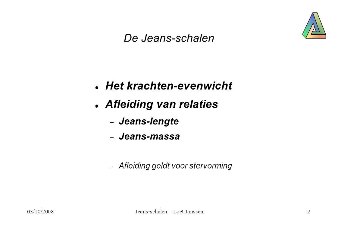 03/10/2008Jeans-schalen Loet Janssen2 De Jeans-schalen Het krachten-evenwicht Afleiding van relaties  Jeans-lengte  Jeans-massa  Afleiding geldt voor stervorming