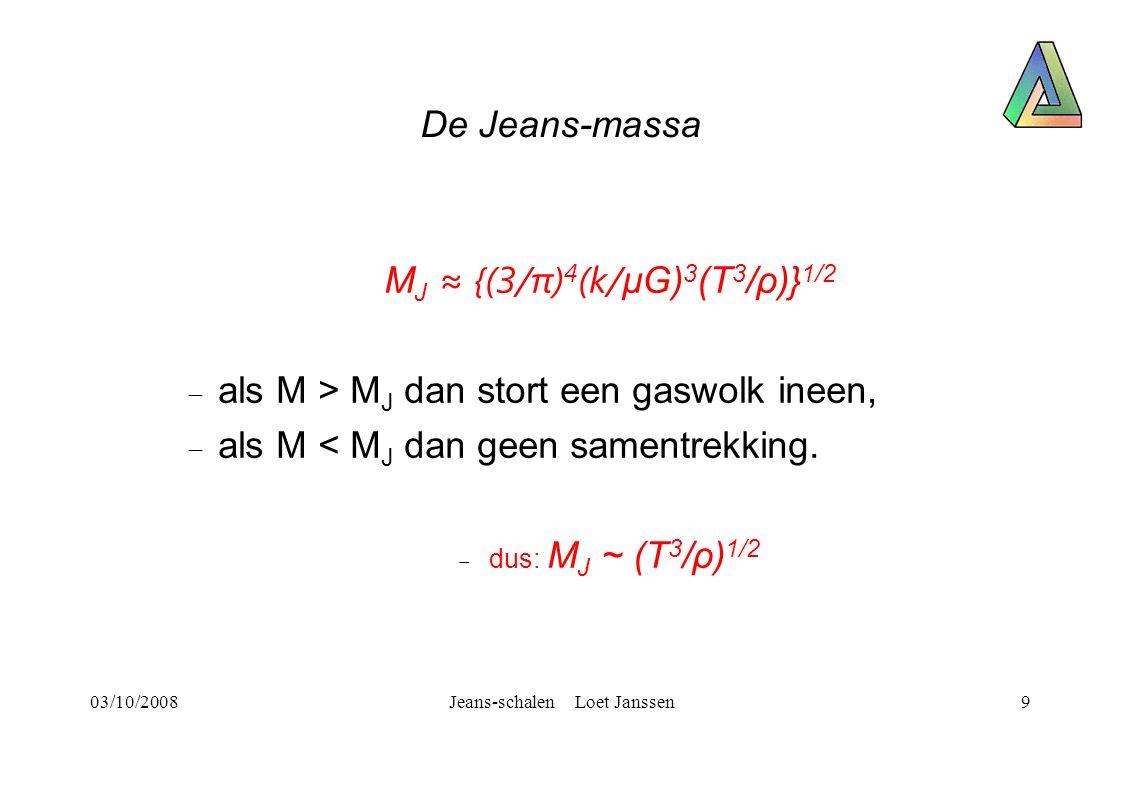 03/10/2008Jeans-schalen Loet Janssen9 De Jeans-massa M J ≈ {(3/π) 4 (k/ μG) 3 (T 3 /ρ)} 1/2  als M > M J dan stort een gaswolk ineen,  als M < M J dan geen samentrekking.