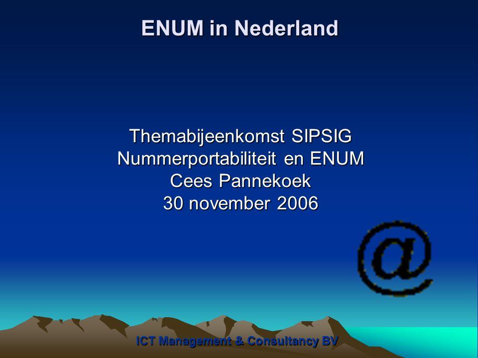 ENUM in Nederland Bepalende factoren tav van Infrastucture ENUM: 1.De snelle introductie van VOIP 2.Beschikbare technologie voor het routeren van gesprekken over een IP-netwerk 3.Conficten met betrekking tot het interconnect verrekenmodel 4.Nummerportabiliteit vraagstuk 5.Denken vanuit verschillende businessmodellen