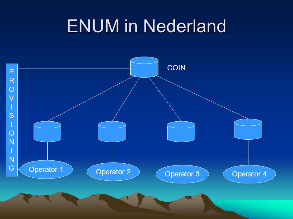 ENUM in Nederland Operator 1 Operator 2 Operator 3Operator 4 COIN PROVISIONINGPROVISIONING