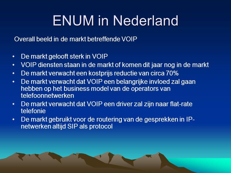 ENUM in Nederland User ENUM Infrastructure ENUM Privat/federation ENUM Open toegang Toegang alle operators Toegang (bevriende) operator(s)