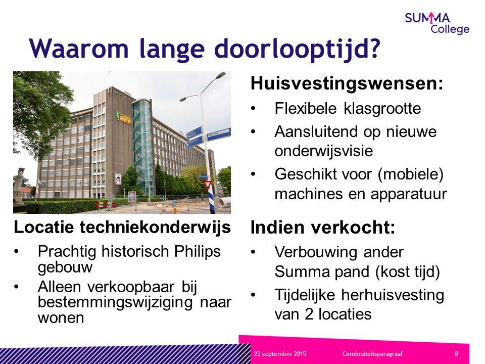 923 september 2015Continuiteitsparagraaf Meerjaren investeringsbegroting KnelpuntenOplossingen Langdurige besluitvorming strategisch huisvestingsplan Toelichting strategische doelstellingen incl.