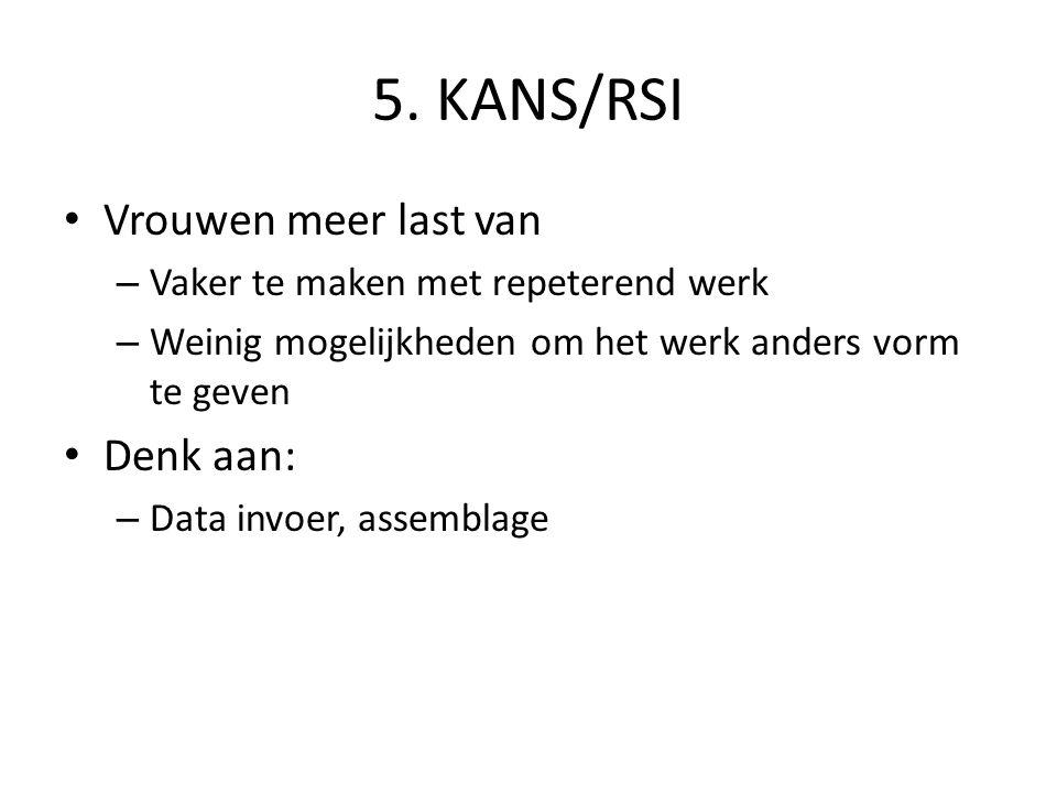 5. KANS/RSI Vrouwen meer last van – Vaker te maken met repeterend werk – Weinig mogelijkheden om het werk anders vorm te geven Denk aan: – Data invoer