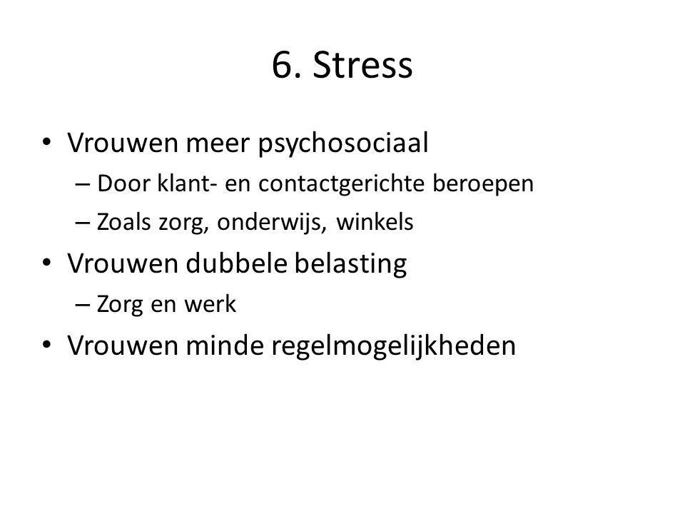 6. Stress Vrouwen meer psychosociaal – Door klant- en contactgerichte beroepen – Zoals zorg, onderwijs, winkels Vrouwen dubbele belasting – Zorg en we