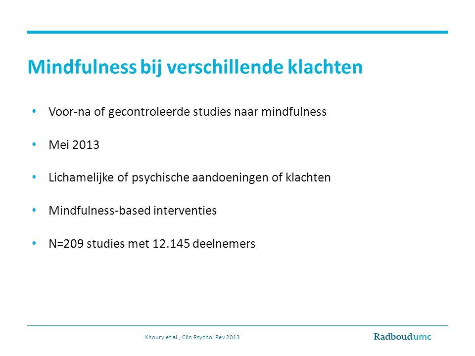 Voor-na of gecontroleerde studies naar mindfulness Mei 2013 Lichamelijke of psychische aandoeningen of klachten Mindfulness-based interventies N=209 studies met 12.145 deelnemers Mindfulness bij verschillende klachten Khoury et al., Clin Psychol Rev 2013