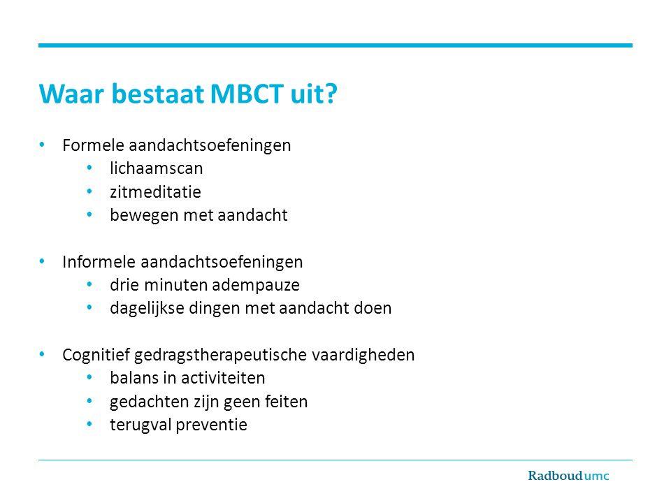 Waar bestaat MBCT uit.