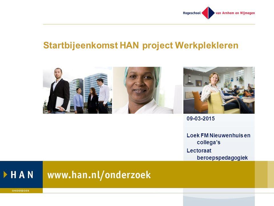 Startbijeenkomst HAN project Werkplekleren 09-03-2015 Loek FM Nieuwenhuis en collega's Lectoraat beroepspedagogiek