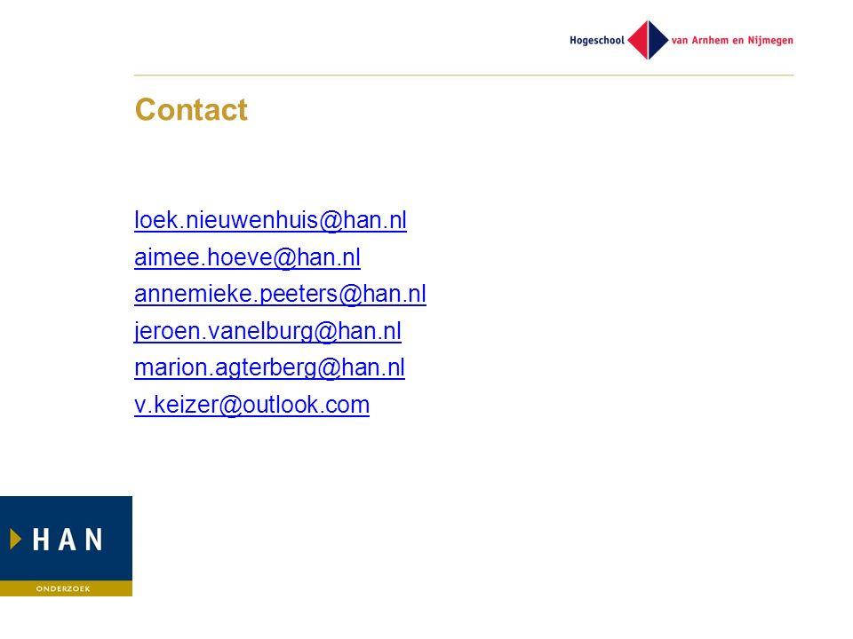 Contact loek.nieuwenhuis@han.nl aimee.hoeve@han.nl annemieke.peeters@han.nl jeroen.vanelburg@han.nl marion.agterberg@han.nl v.keizer@outlook.com