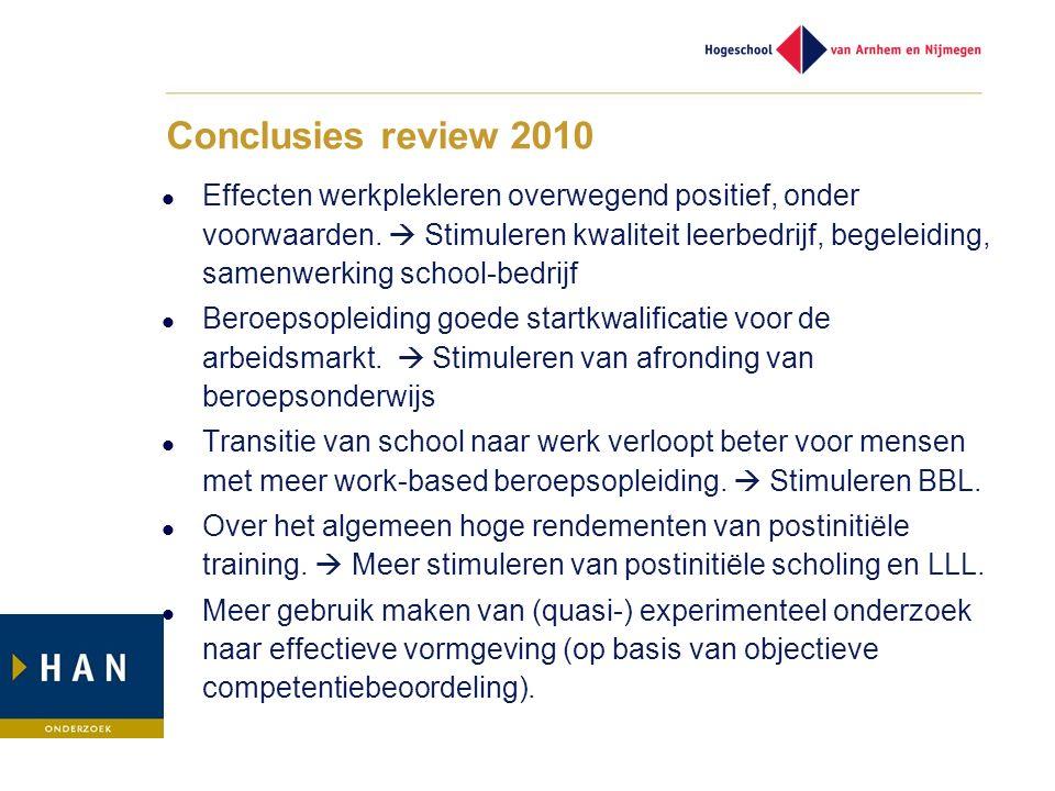 Conclusies review 2010 Effecten werkplekleren overwegend positief, onder voorwaarden.