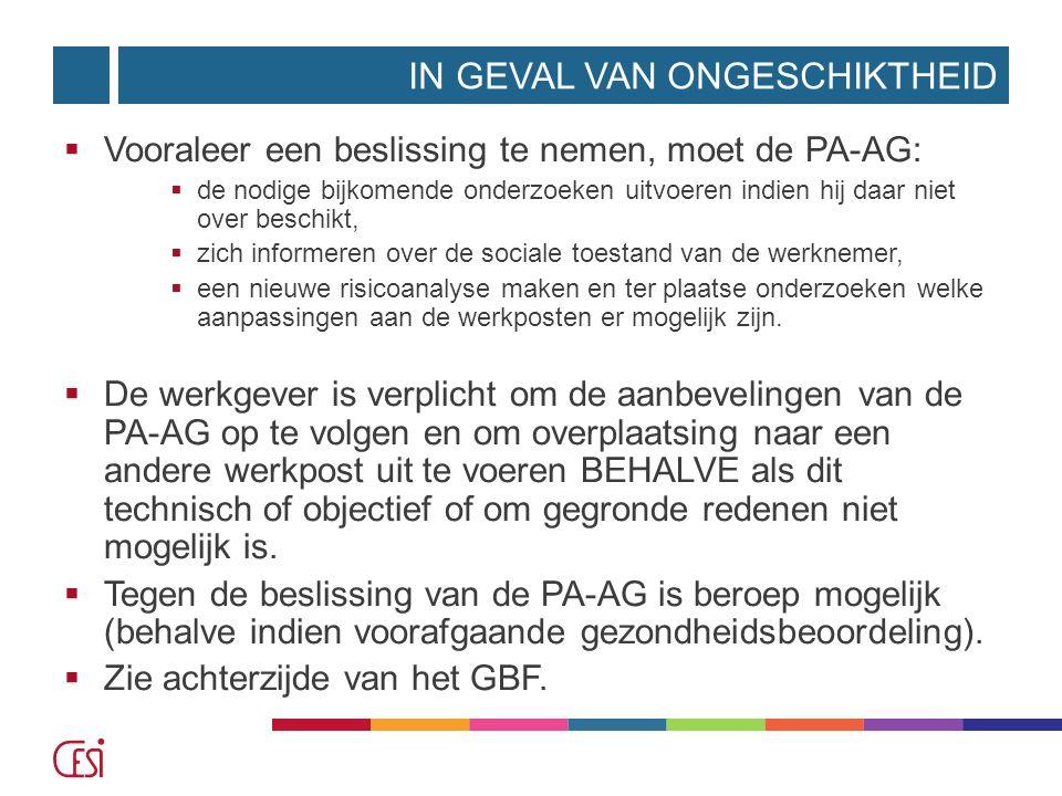 IN GEVAL VAN ONGESCHIKTHEID  Vooraleer een beslissing te nemen, moet de PA-AG:  de nodige bijkomende onderzoeken uitvoeren indien hij daar niet over