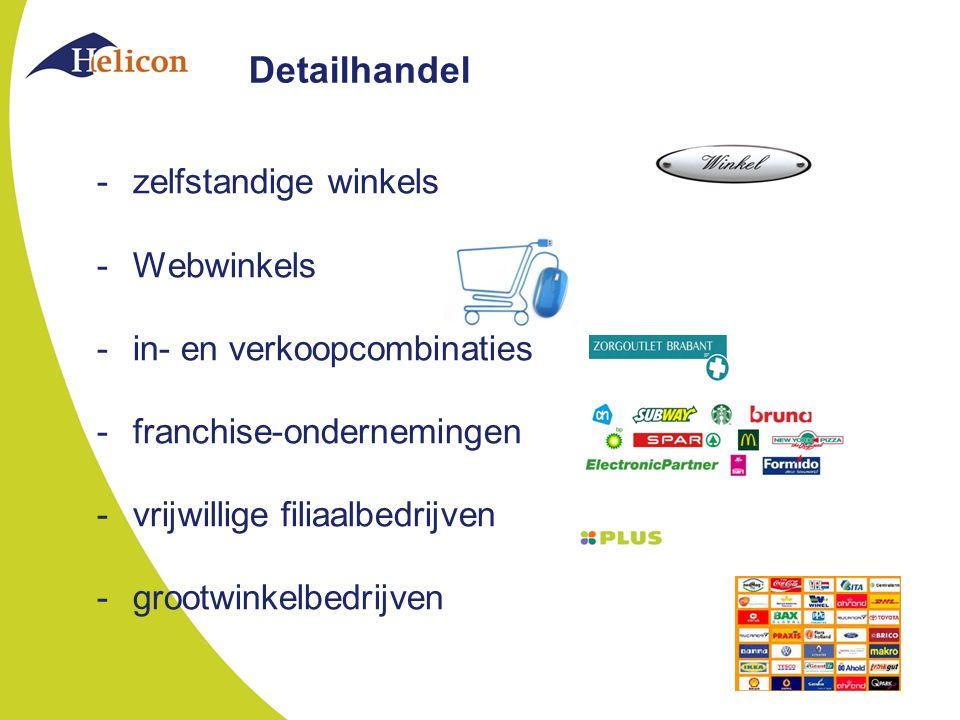 Detailhandel -zelfstandige winkels -Webwinkels -in- en verkoopcombinaties -franchise-ondernemingen -vrijwillige filiaalbedrijven -grootwinkelbedrijven