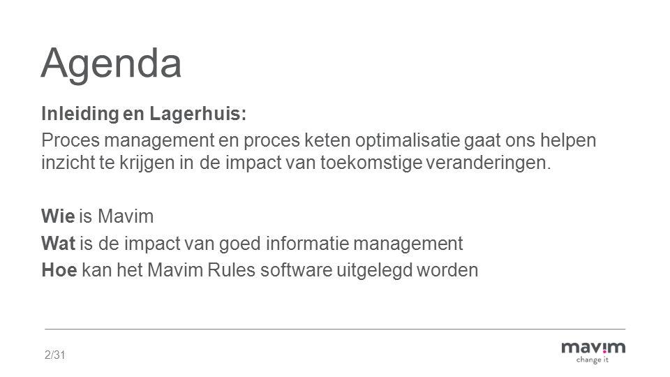 2/31 Agenda Inleiding en Lagerhuis: Proces management en proces keten optimalisatie gaat ons helpen inzicht te krijgen in de impact van toekomstige veranderingen.