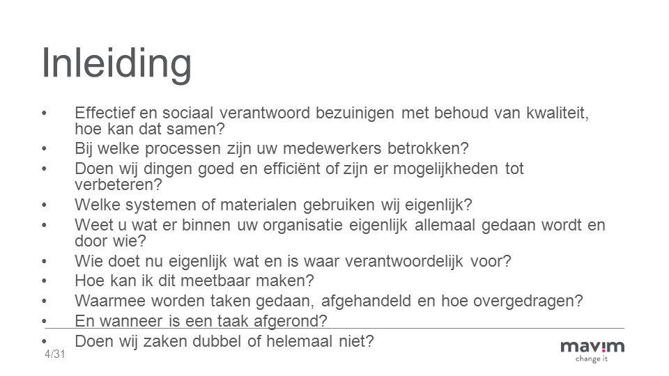 4/31 Inleiding Effectief en sociaal verantwoord bezuinigen met behoud van kwaliteit, hoe kan dat samen? Bij welke processen zijn uw medewerkers betrok