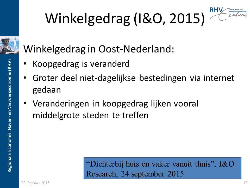 Regionale Economie, Haven- en Vervoerseconomie (RHV) Winkelgedrag (I&O, 2015) Winkelgedrag in Oost-Nederland: Koopgedrag is veranderd Groter deel niet