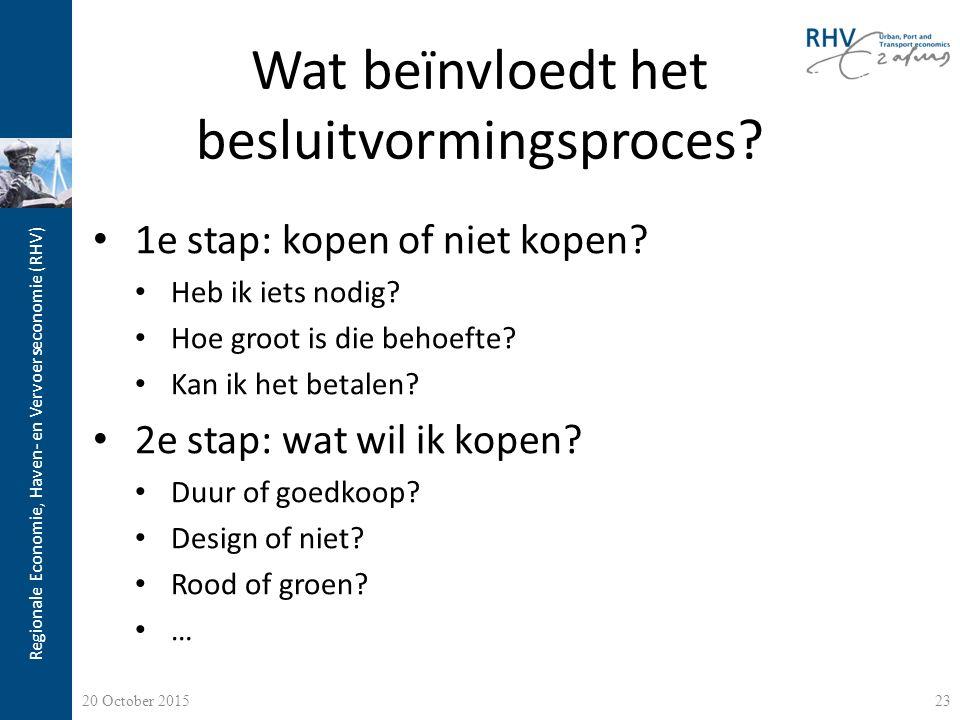 Regionale Economie, Haven- en Vervoerseconomie (RHV) Wat beïnvloedt het besluitvormingsproces? 1e stap: kopen of niet kopen? Heb ik iets nodig? Hoe gr