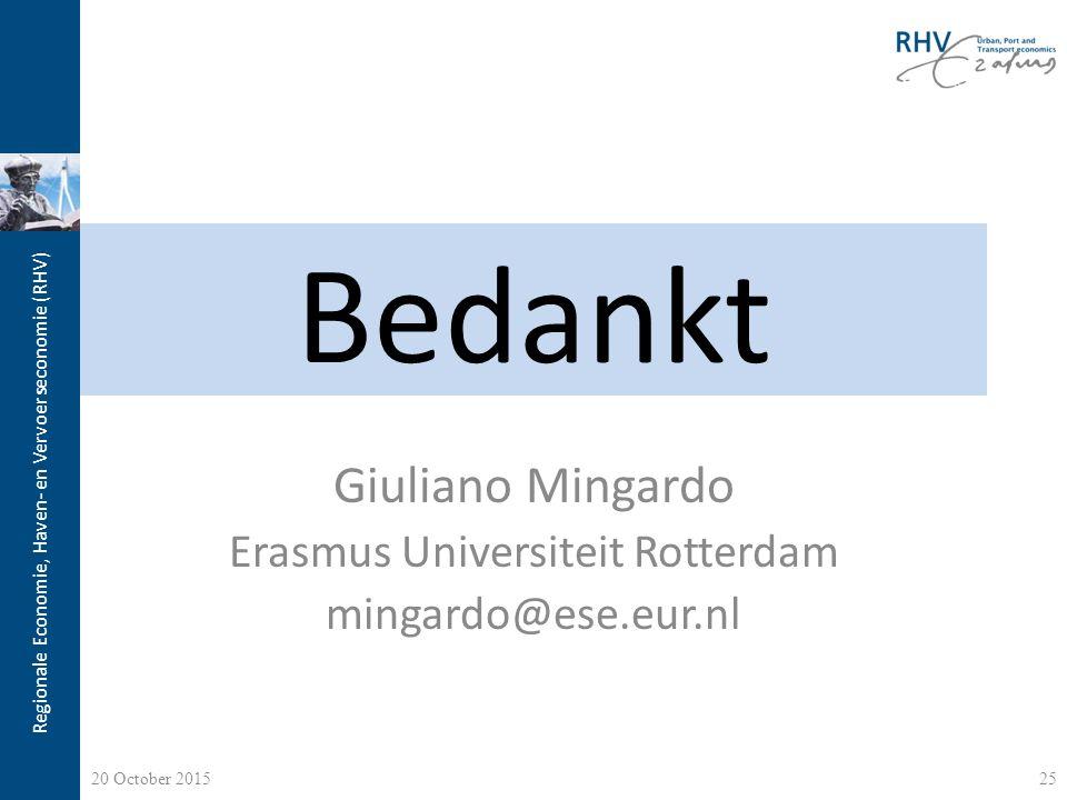 Regionale Economie, Haven- en Vervoerseconomie (RHV) Bedankt Giuliano Mingardo Erasmus Universiteit Rotterdam mingardo@ese.eur.nl 20 October 201525