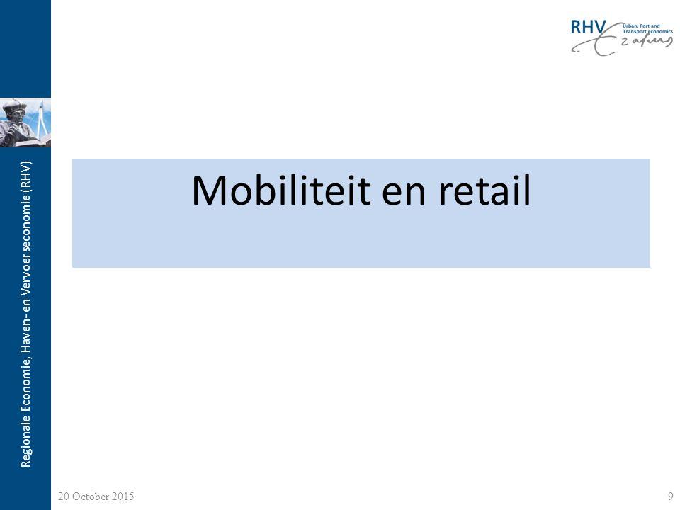 Regionale Economie, Haven- en Vervoerseconomie (RHV) Detailhandel Het probleem: Dalende omzetten; Teruglopende winkelpassanten; Leegstand van winkels; De oorzaak: a)Economische crisis: we zitten midden een van de diepste recessies van de afgelopen decennia; b)Internet: het gedrag van de consument is drastisch veranderd; c)Overaanbod aan m 2 retail: te veel gebouwd op het moment dat het het minste nodig was [a+b] 10