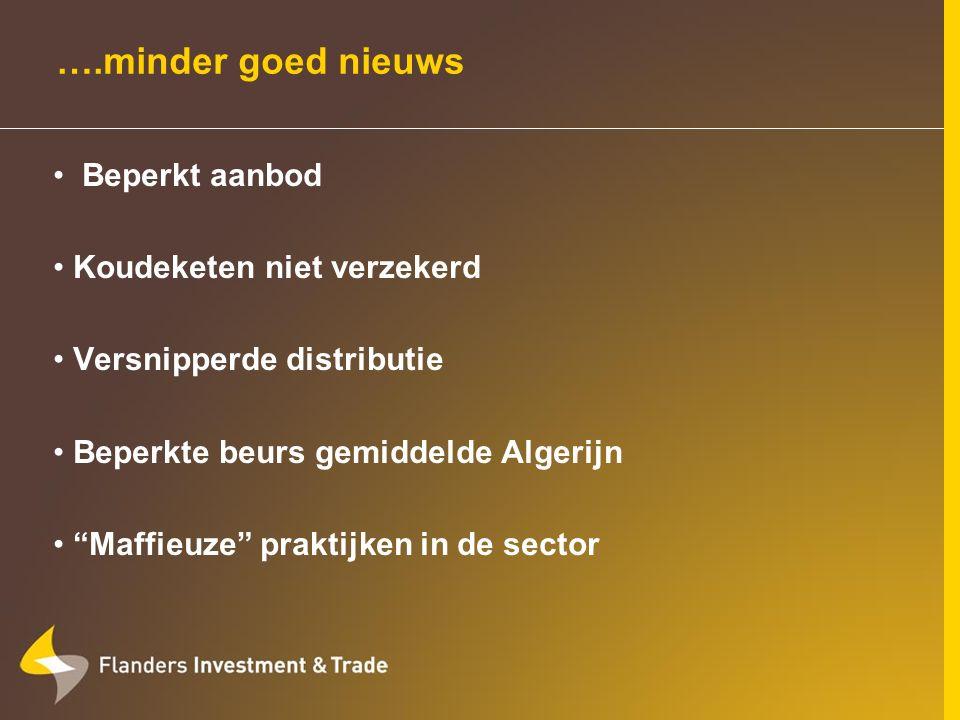 ….minder goed nieuws Beperkt aanbod Koudeketen niet verzekerd Versnipperde distributie Beperkte beurs gemiddelde Algerijn Maffieuze praktijken in de sector