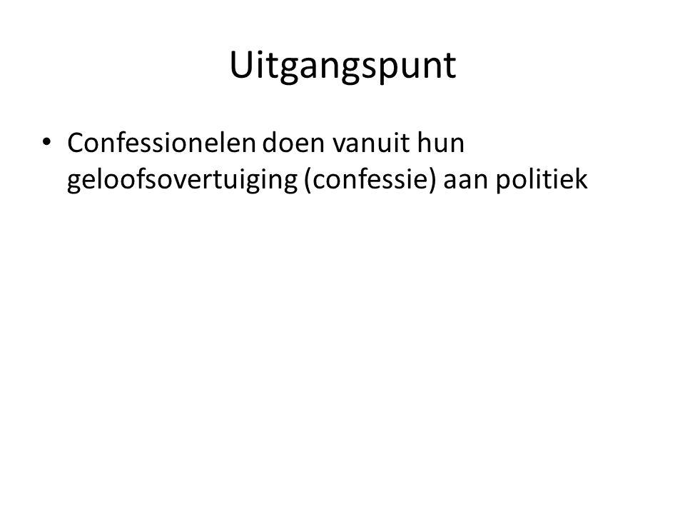 Uitgangspunt Confessionelen doen vanuit hun geloofsovertuiging (confessie) aan politiek