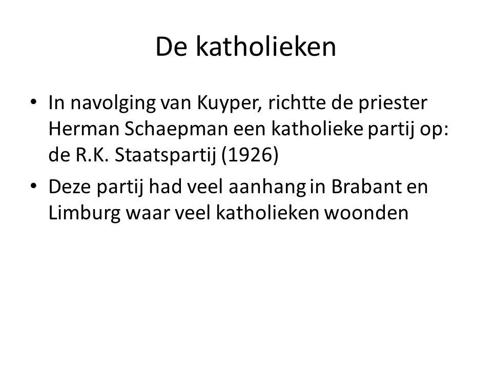 De katholieken In navolging van Kuyper, richtte de priester Herman Schaepman een katholieke partij op: de R.K.