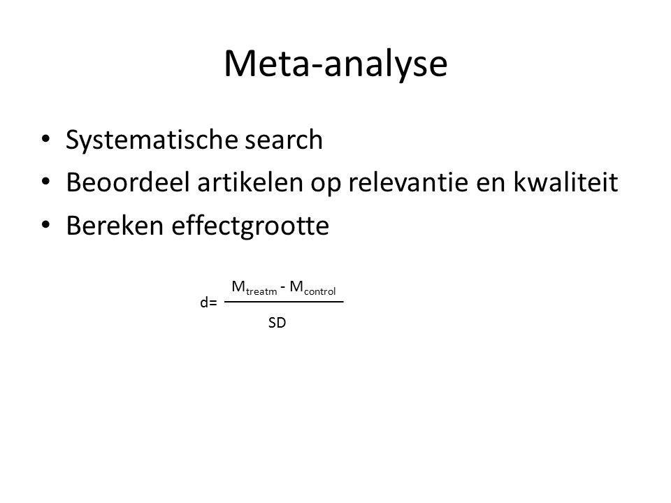 Meta-analyse Systematische search Beoordeel artikelen op relevantie en kwaliteit Bereken effectgrootte M treatm - M control d= SD