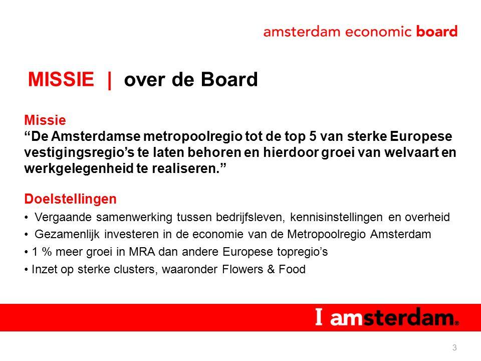 MISSIE | over de Board Missie De Amsterdamse metropoolregio tot de top 5 van sterke Europese vestigingsregio's te laten behoren en hierdoor groei van welvaart en werkgelegenheid te realiseren. Doelstellingen Vergaande samenwerking tussen bedrijfsleven, kennisinstellingen en overheid Gezamenlijk investeren in de economie van de Metropoolregio Amsterdam 1 % meer groei in MRA dan andere Europese topregio's Inzet op sterke clusters, waaronder Flowers & Food 3