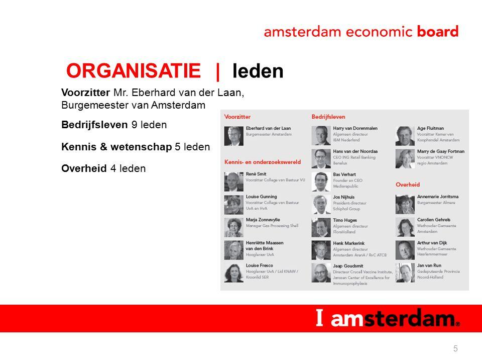 Voorzitter Mr. Eberhard van der Laan, Burgemeester van Amsterdam Bedrijfsleven 9 leden Kennis & wetenschap 5 leden Overheid 4 leden 5 ORGANISATIE | le
