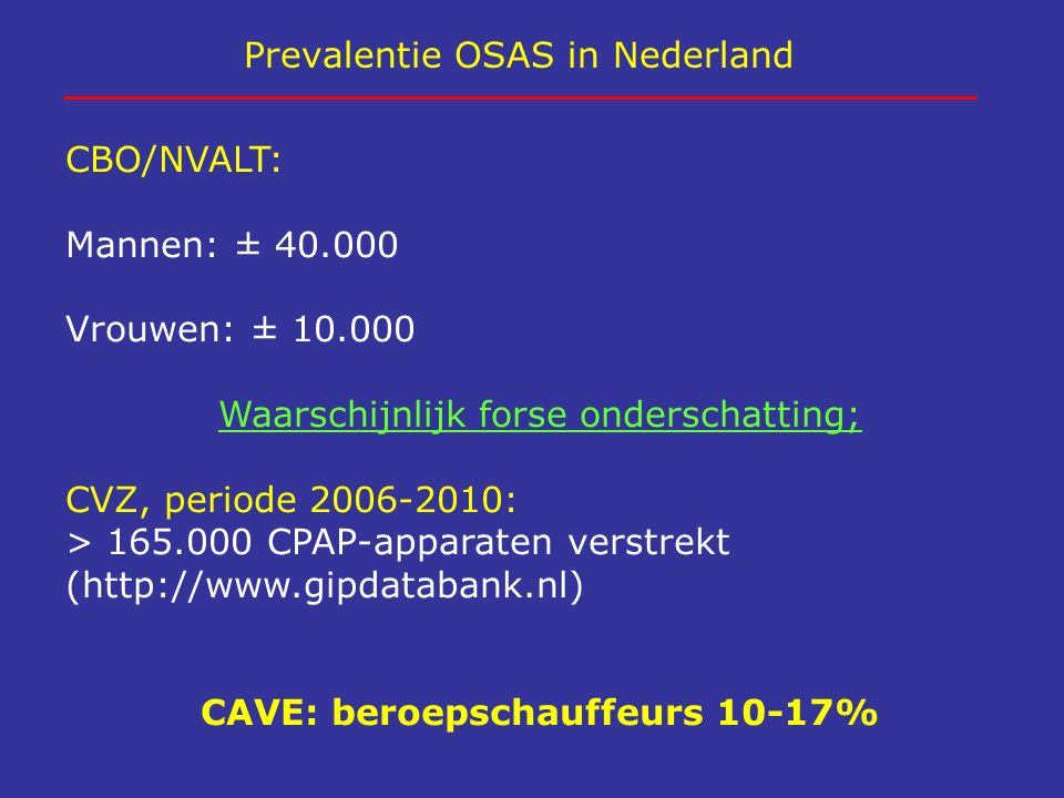 Prevalentie OSAS in Nederland CBO/NVALT: Mannen: ± 40.000 Vrouwen: ± 10.000 Waarschijnlijk forse onderschatting; CVZ, periode 2006-2010: > 165.000 CPA