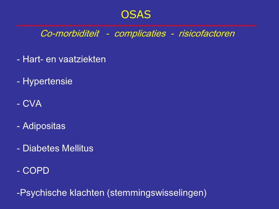 OSAS Co-morbiditeit - complicaties - risicofactoren - Hart- en vaatziekten - Hypertensie - CVA - Adipositas - Diabetes Mellitus - COPD -Psychische kla