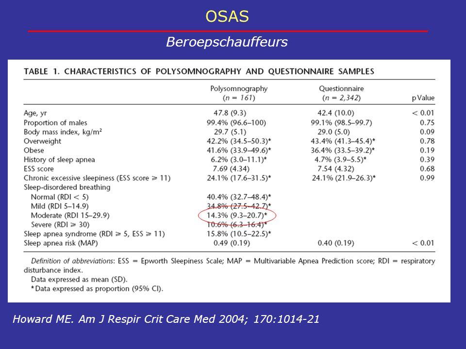 OSAS Beroepschauffeurs Howard ME. Am J Respir Crit Care Med 2004; 170:1014-21