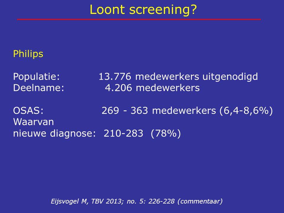Loont screening? Eijsvogel M, TBV 2013; no. 5: 226-228 (commentaar) Philips Populatie: 13.776 medewerkers uitgenodigd Deelname: 4.206 medewerkers OSAS