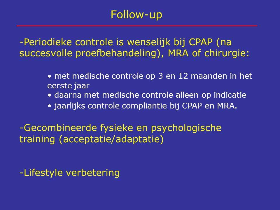 Follow-up -Periodieke controle is wenselijk bij CPAP (na succesvolle proefbehandeling), MRA of chirurgie: met medische controle op 3 en 12 maanden in