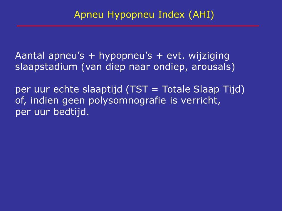 Apneu Hypopneu Index (AHI) Aantal apneu's + hypopneu's + evt. wijziging slaapstadium (van diep naar ondiep, arousals) per uur echte slaaptijd (TST = T