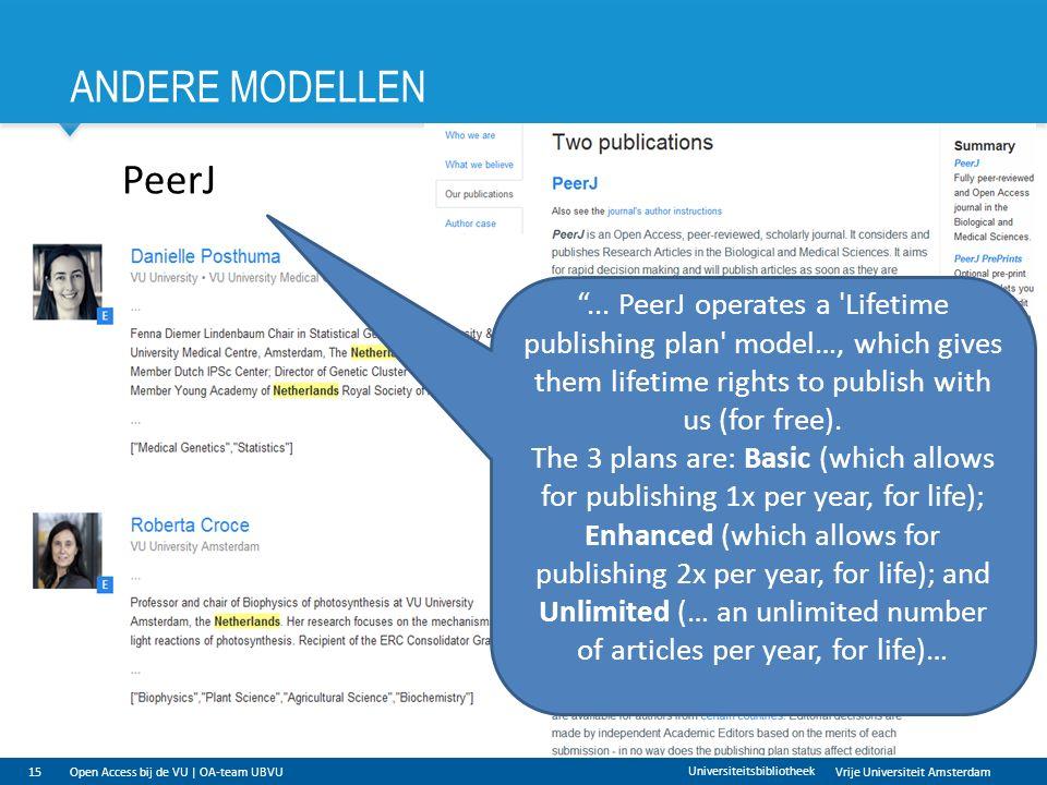 Vrije Universiteit Amsterdam ANDERE MODELLEN 15 Universiteitsbibliotheek PeerJ ...