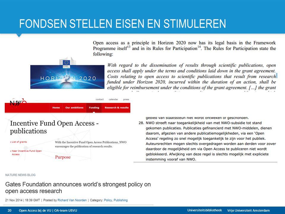 Vrije Universiteit Amsterdam FONDSEN STELLEN EISEN EN STIMULEREN 20Open Access bij de VU | OA-team UBVU Universiteitsbibliotheek