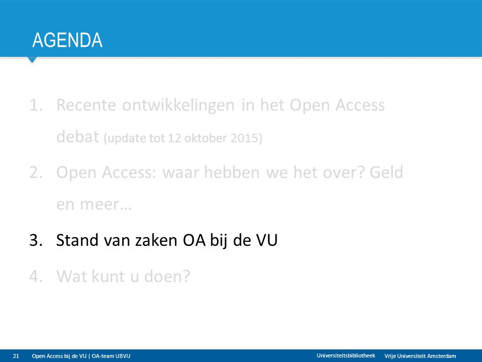 Vrije Universiteit Amsterdam AGENDA 21 Universiteitsbibliotheek 1.Recente ontwikkelingen in het Open Access debat (update tot 12 oktober 2015) 2.Open Access: waar hebben we het over.