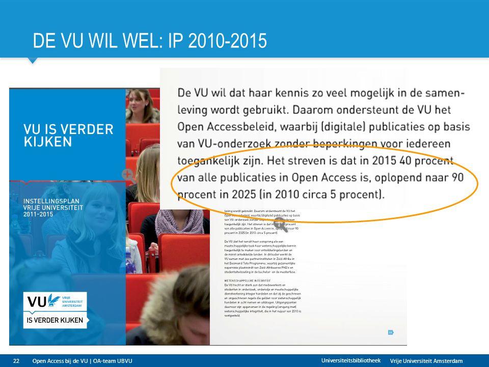 Vrije Universiteit Amsterdam DE VU WIL WEL: IP 2010-2015 22 Universiteitsbibliotheek Open Access bij de VU | OA-team UBVU