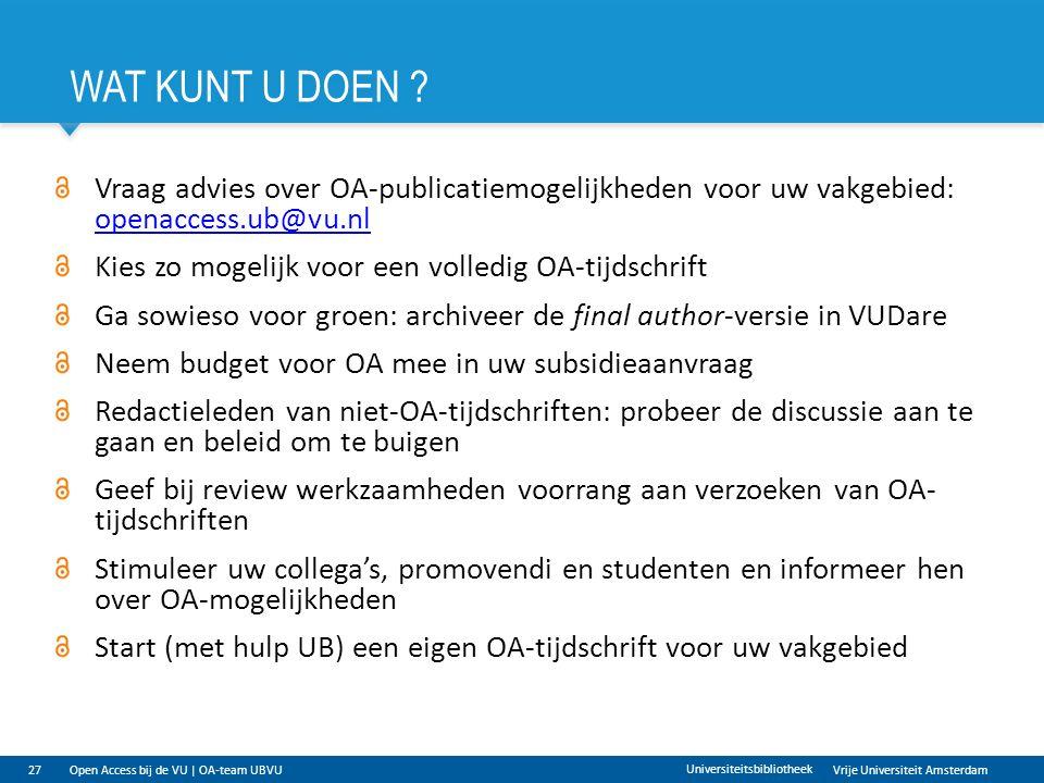 Vrije Universiteit Amsterdam WAT KUNT U DOEN .
