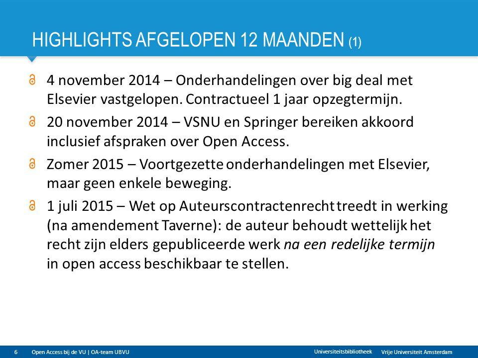 Vrije Universiteit Amsterdam HIGHLIGHTS AFGELOPEN 12 MAANDEN (1) 6 Universiteitsbibliotheek Open Access bij de VU | OA-team UBVU 4 november 2014 – Onderhandelingen over big deal met Elsevier vastgelopen.