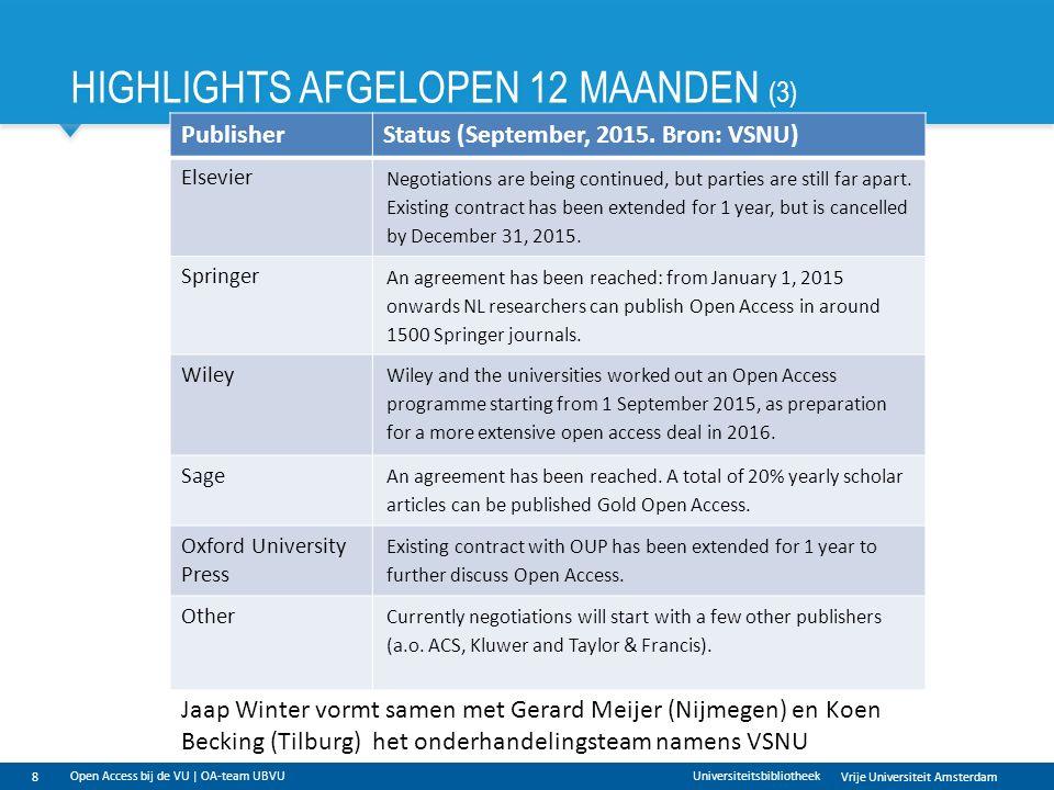 Vrije Universiteit Amsterdam HIGHLIGHTS AFGELOPEN 12 MAANDEN (3) 8 Universiteitsbibliotheek Open Access bij de VU | OA-team UBVU PublisherStatus (September, 2015.