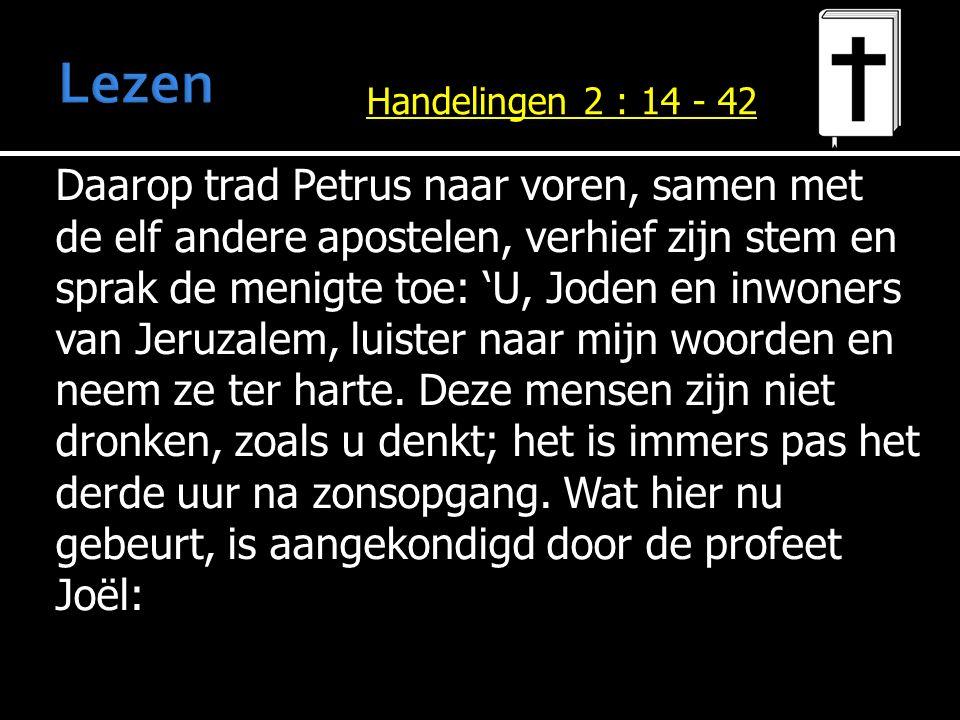 Daarop trad Petrus naar voren, samen met de elf andere apostelen, verhief zijn stem en sprak de menigte toe: 'U, Joden en inwoners van Jeruzalem, luis