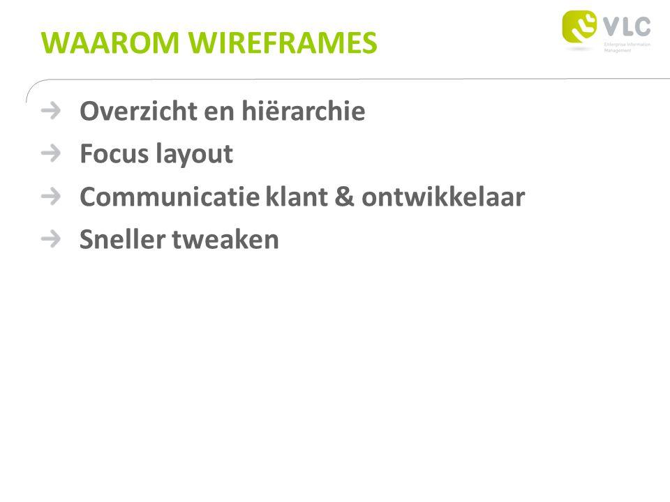 WAAROM WIREFRAMES Overzicht en hiërarchie Focus layout Communicatie klant & ontwikkelaar Sneller tweaken