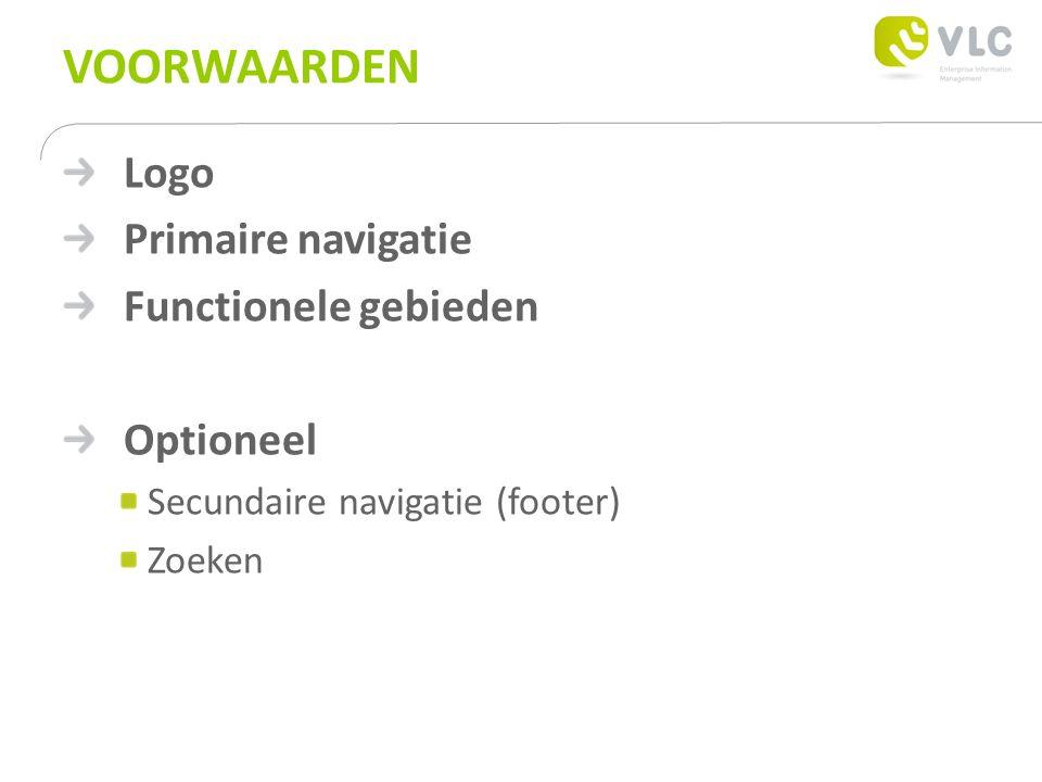 VOORWAARDEN Logo Primaire navigatie Functionele gebieden Optioneel Secundaire navigatie (footer) Zoeken